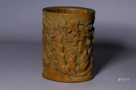 BAMBOO CARVED 'PEOPLE' BRUSH POT