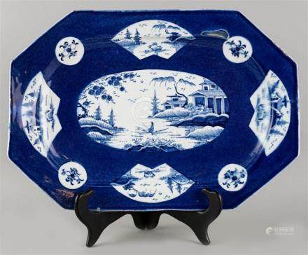 BOW BLUE AND WHITE OCTAGONAL PLATTER
