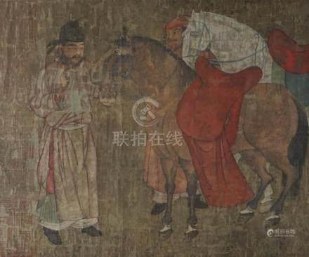 ZHANG DAQIAN (CHINESE, 1899-1983) AFTER HAN GAN 'GROOMS WITH HORSES' Print with original calligraphy by Zhang Daqian: 15 1/2 x 19 1/.