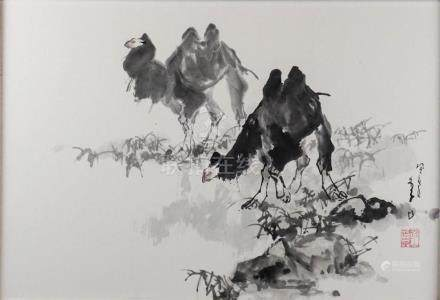 LI SHAN (CHINESE, B. 1926) TWO CAMELS, FEBRUARY 1983 Ink and