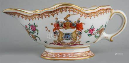 CHINESE EXPORT ARMORIAL FAMILLE ROSE SAUCE BOAT, 18TH CENTUR