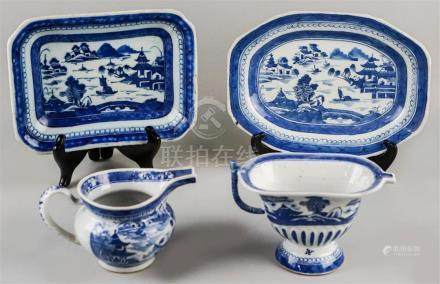FOUR CHINESE EXPORT CANTON UNDERGLAZE BLUE AND WHITE PIECES,