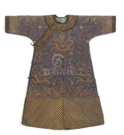 "Blue Ground ""Nine Dragons"" Formal Robe c. 1890."
