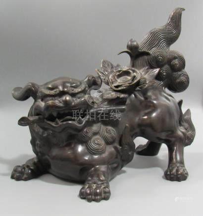 Japanese Bronze Foo Dog Signed Shoun.