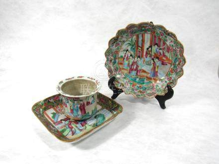 A Rose Medallion Jardiniere and Two Dishes.