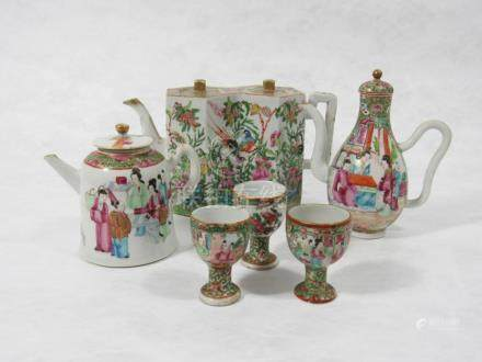 A Rose Medallion Double Lozenge-Form Teapot and