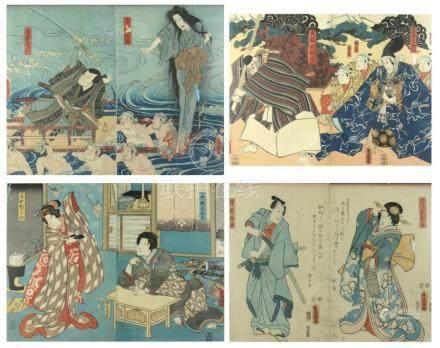 Four Japanese Woodblock Diptychs by Toyokuni III.