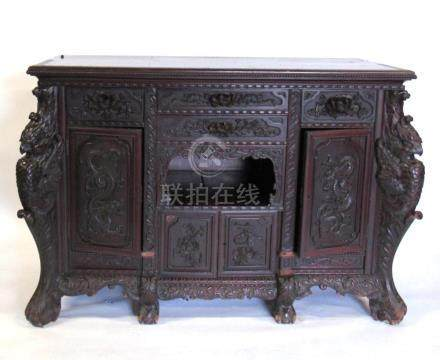 Highly Carved Chinoiserie Cabinet.