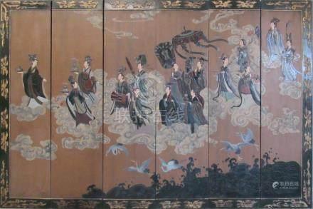 Midcentury Chinese Six Panel Floor Screen