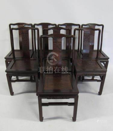 """Set of 8 Chinese """"Shou"""" Rosewood Chairs."""