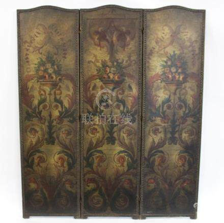Antique Leather 3 Panel Screen.