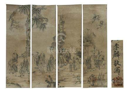 Set of 4 ink on paper hand scroll paintings, Lohan;
