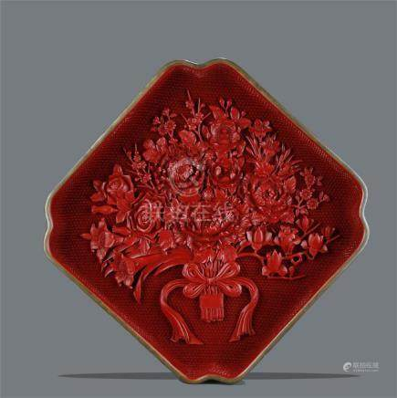 A rare large bronze/cinnabar lacquer carved square tray;