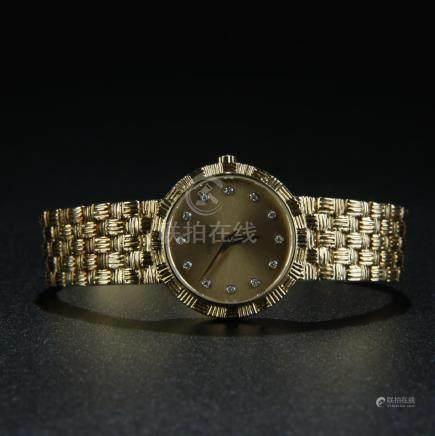 A 18K gold/diamond Waltham Lady watch working