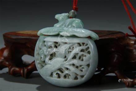 A natural jadeite carved pierced pomander