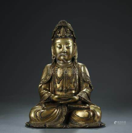 19/20th C. gilt bronze figure of Guanying