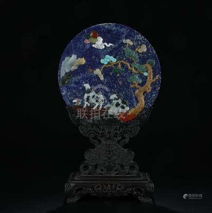 Lapis lazuli/gemstone inlaid screen with rosewood stand