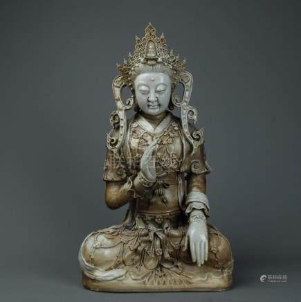 Antqiue large coloured dehua Guanying figure