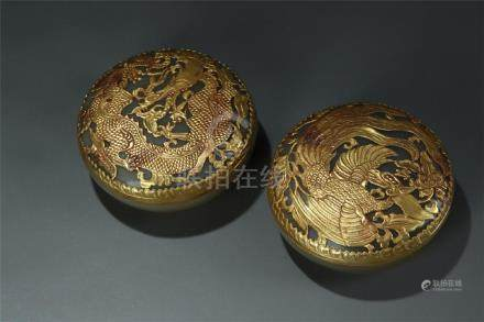 Pair gilt bronze mounted agate roundel boxes