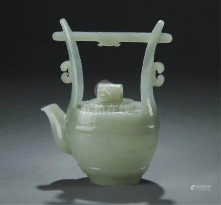 A nice carved celadon jade pot