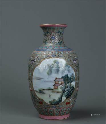 A nice painted famille rose landscape vase