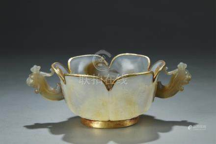Archaistic gilt bronze mounted agate cup