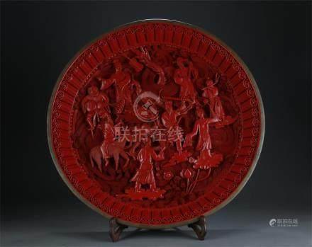 Large nice cinnabar lacquer plate/eight daoist