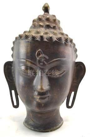 (Asian antiques) bronze Boeddha head