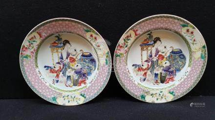 (Asian art) Two famille rose plates Chinese export