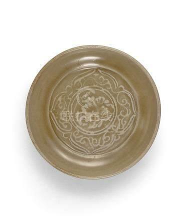 金 耀州窯青釉印花盤