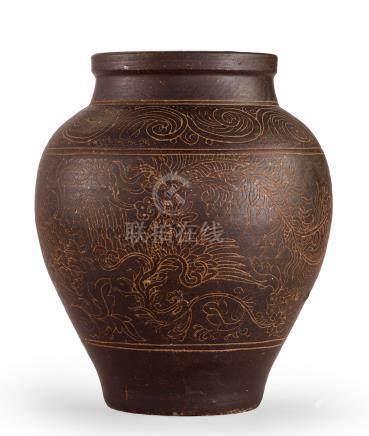 金/元 褐釉劃花牡丹鳳紋罐