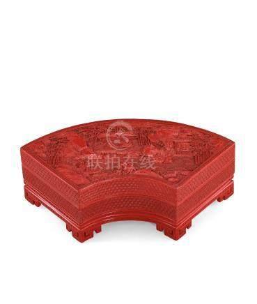 清乾隆 剔紅竹林七賢圖扇形蓋盒