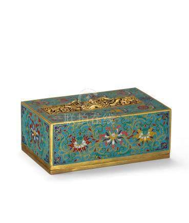 清乾隆 銅胎嵌鎏金雲龍琺瑯八寶紋經盒