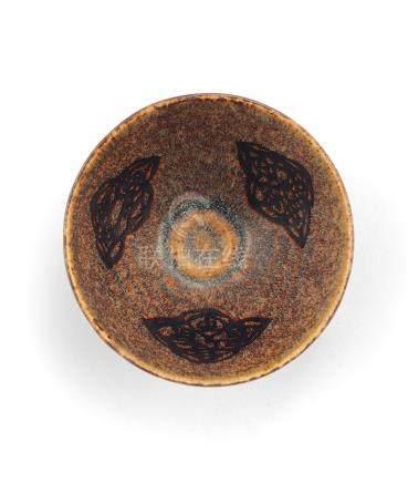 宋 吉州窯黑釉剪紙貼花茶盞