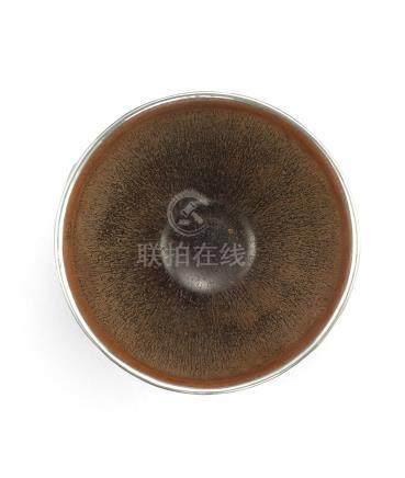 宋 建窯黑釉兔毫茶盞配日本黑漆盞托
