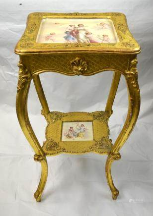 Gilt Wood Stand w. Vienna Porcelain Plaques Insert