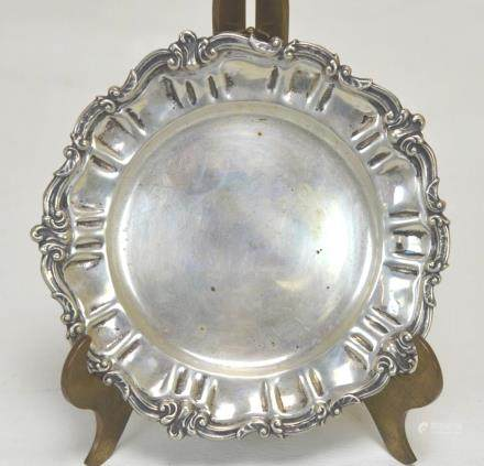 Sterling Silver Dish with Scrolling Rim