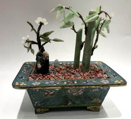 Chinese Cloisonne Planter with Jade Tree