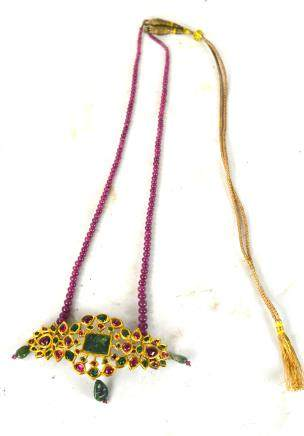 Indian Gold with Emerald & Ruby Necklace