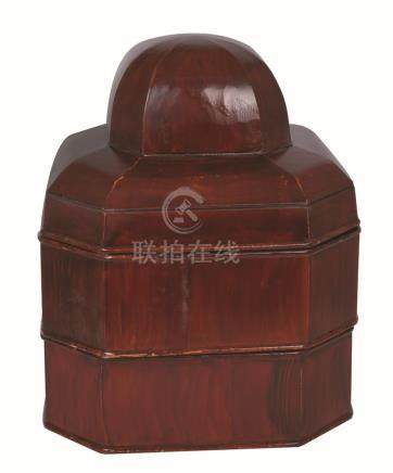 A CHINESE WOOD RICE BUCKET AND COVER