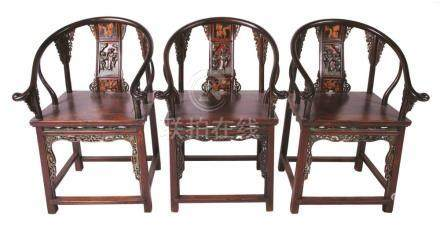 THREE CHINESE ARMCHAIRS