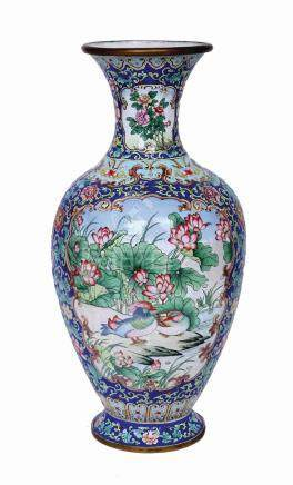 A CHINESE FAMILLE VERTE ENAMEL ON COPPER VASE