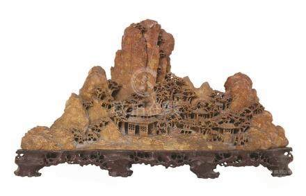 CHINESE SOAPSTONE CARVING OF A MOUNTAIN LANDSCAPE