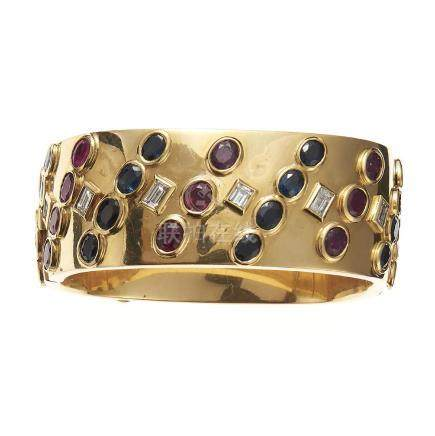 Gold, diamond, ruby and sapphire bangle