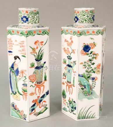 Pair of hexagonal Famille Verte covered jars, China, 20th ce