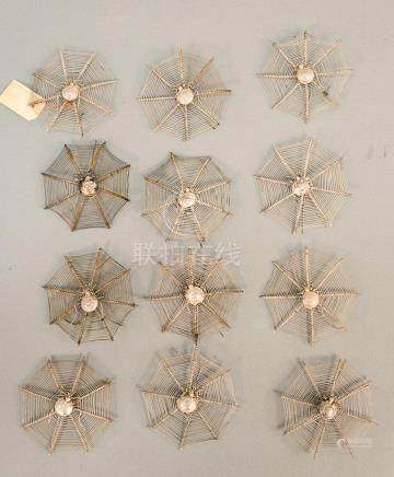 Set of twelve Chinese Export silver place card holders in th
