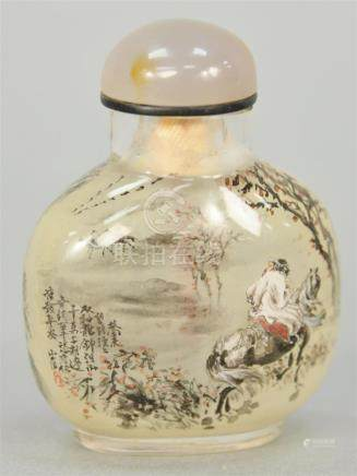 Snuff bottle, China, 19th/20th century, glass, intricately r