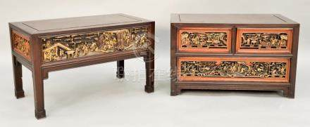 Two Chinese tables, one with three carved drawers, one with