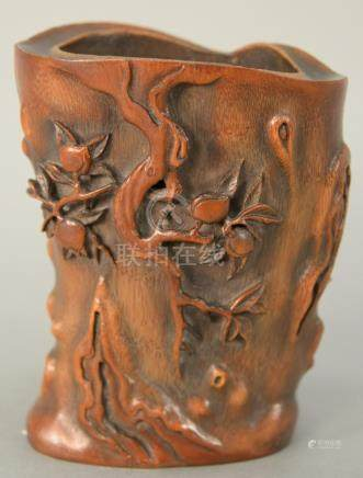 Chinese bamboo brush pot with three dimensional carved peach