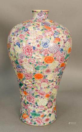 Large Famille Rose Millefleur plum (meiping) vase, China, 20